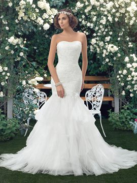 Ericdress Strapless Lace Court Train Mermaid Wedding Dress