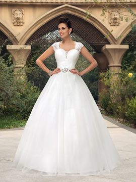 A-line Sweetheart Crystal Lace Floor-Length Wedding Dress