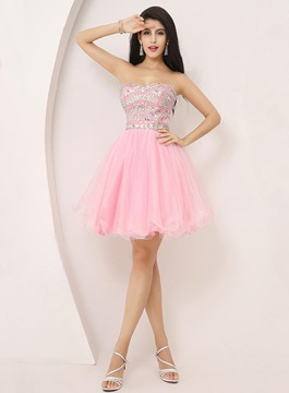 Delightful Beaded A-Line Tulle Cocktail Dress