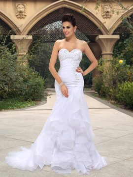 Mermaid Sweetheart Beadings Ruffles Court Train Wedding Dress