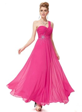 Trendy A-Line One-Shoulder Rhinestones Long Prom Dress