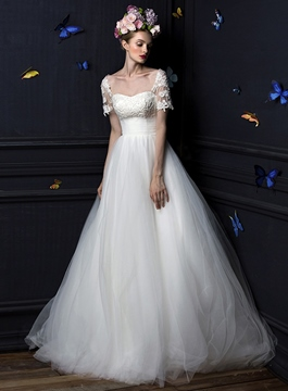 Vintage A-Line Square Short Sleeves Lace up Wedding Dress