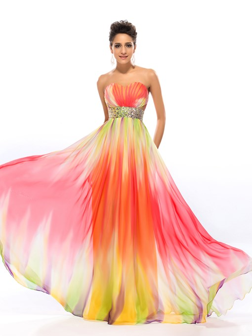 Chic Sweetheart Pattern Beading A-Line Floor-Length Prom Dress