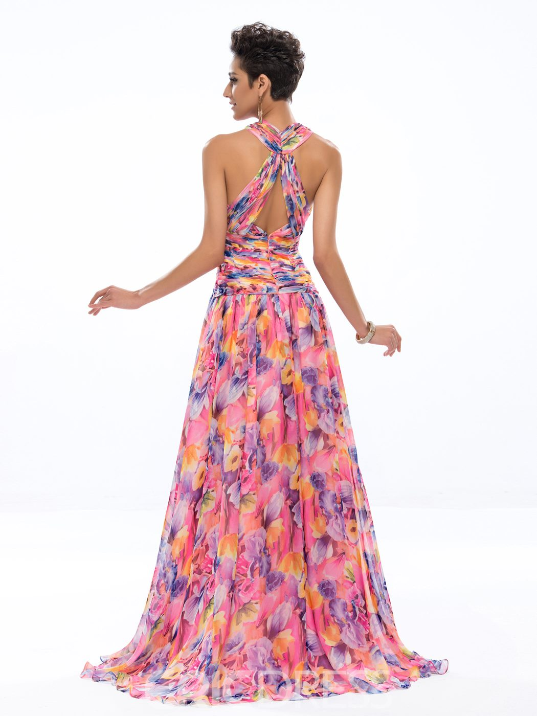 Stylish A-line Halter Pattern Printed Evening Dress