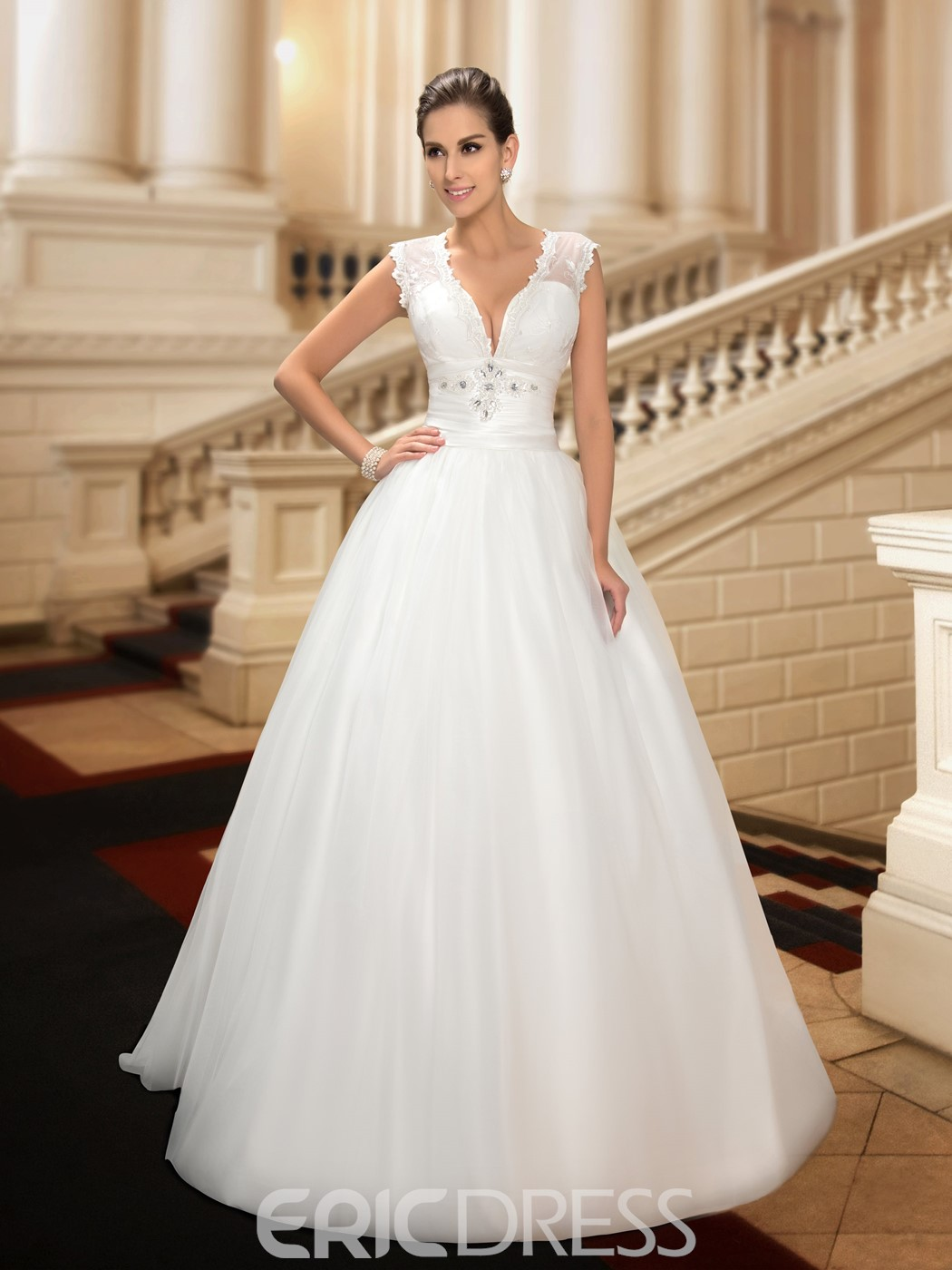 Sexy Deep V-Neck White A-Line Wedding Dress