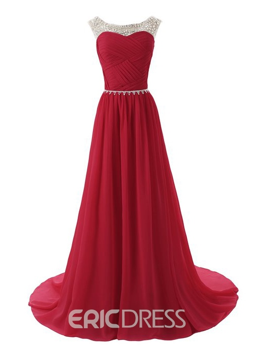 Glamorous Scoop Neckline A-Line Sweep Train Evening Dress