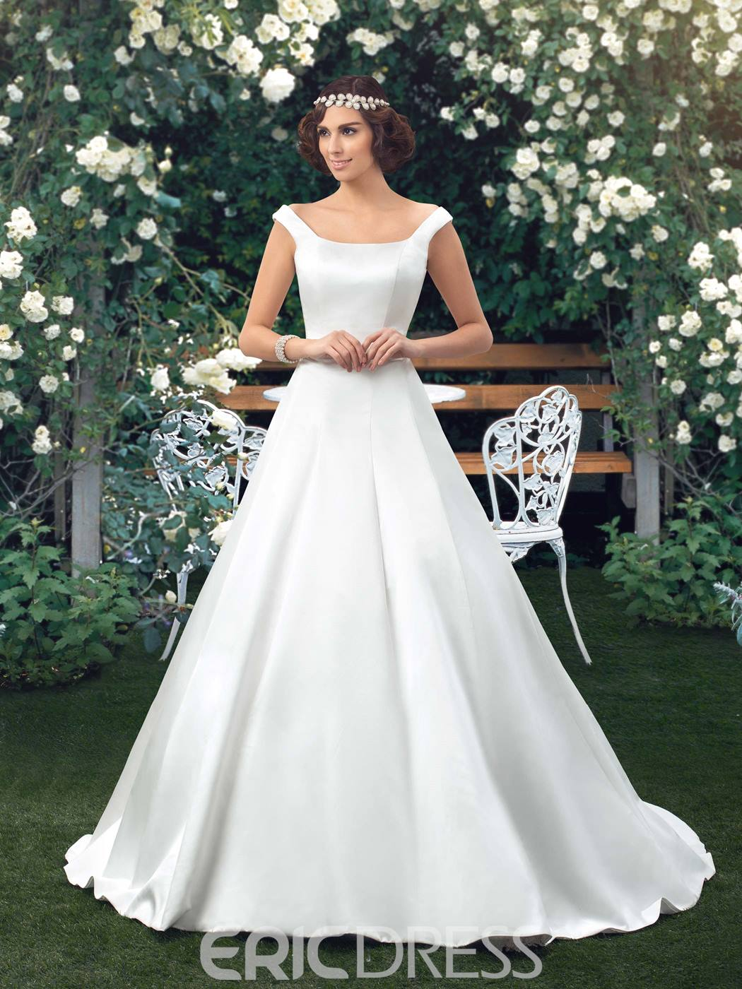 Ericdress Button Simple Off the Shoulder Wedding Dress