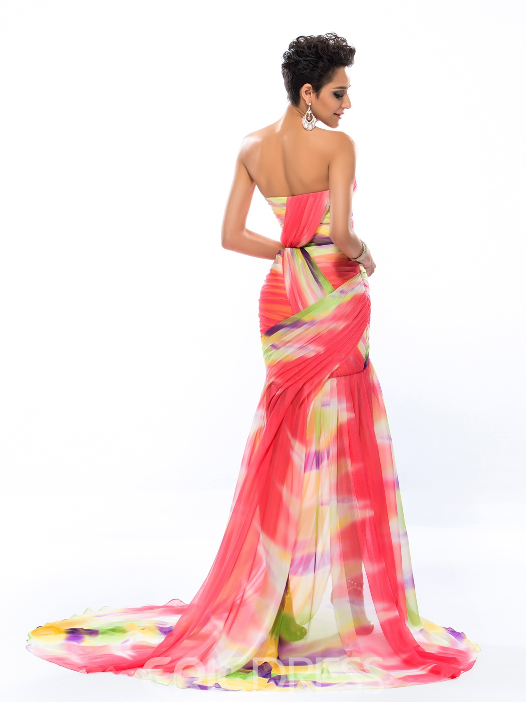 Glamorous Sweetheart Pattern Ruched Floor-Length Sweep Train Evening Dress