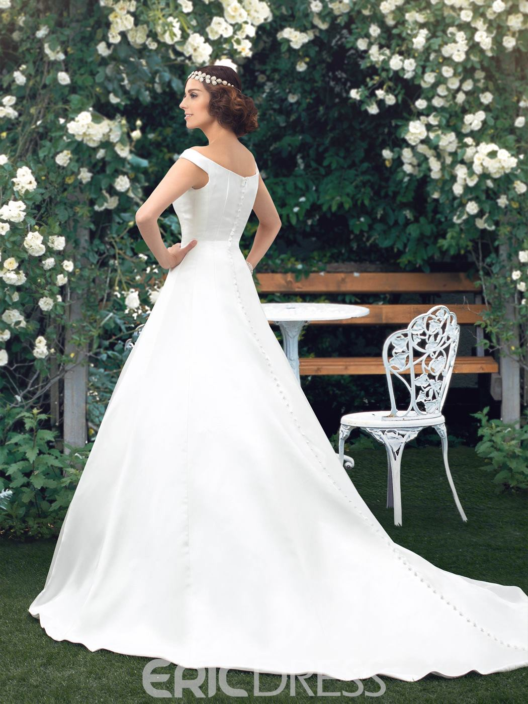Simple Off-the-Shoulder A-Line Floor-Length Wedding Dress