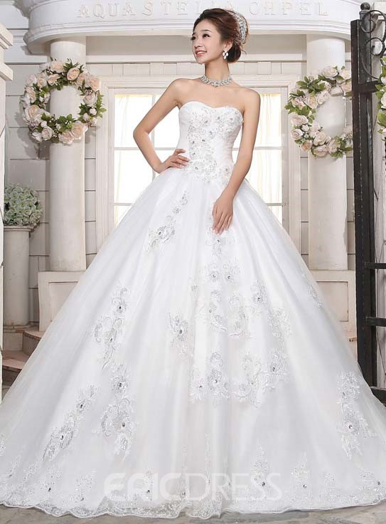 Ericdress Strapless Sequins Beading Ball Gown Wedding Dress