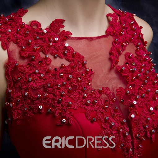 Ericdress Appliques Beaded Court Train Peplum Evening Dress