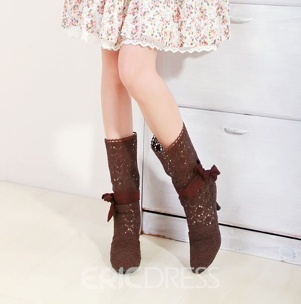 Hollow-outs Bowknot Stiletto High-heel Boots