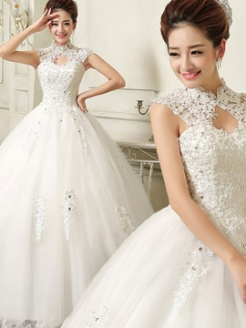 Ericdress Cap Sleeves Appliques Ball Gown Wedding Dress