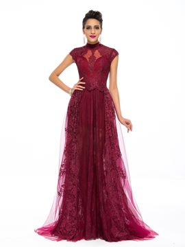 Classy A-Line High Neck Appliques Evening Dress