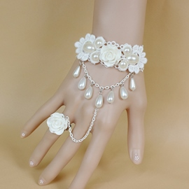 Ericdress White Pearl Rose Women's Bracelet