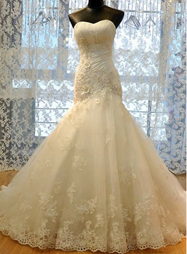 Ericdress Appliques Sweetheart Sheath Wedding Dress