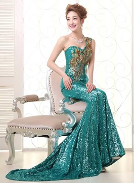 Classy Sequins Appliques One-Shoulder Mermaid Evening Dress