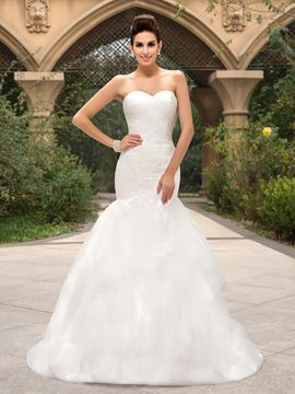 Strapless Sweetheart Neckline Mermaid/Trumpet Zipper-Up Wedding Dress