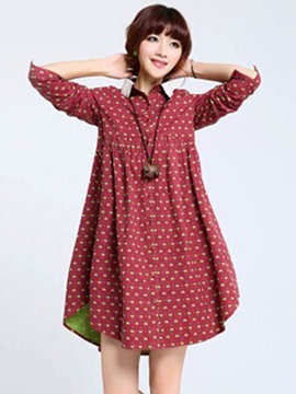 Ericdress Comfortable Print Lapel Long Sleeve Casual Dress