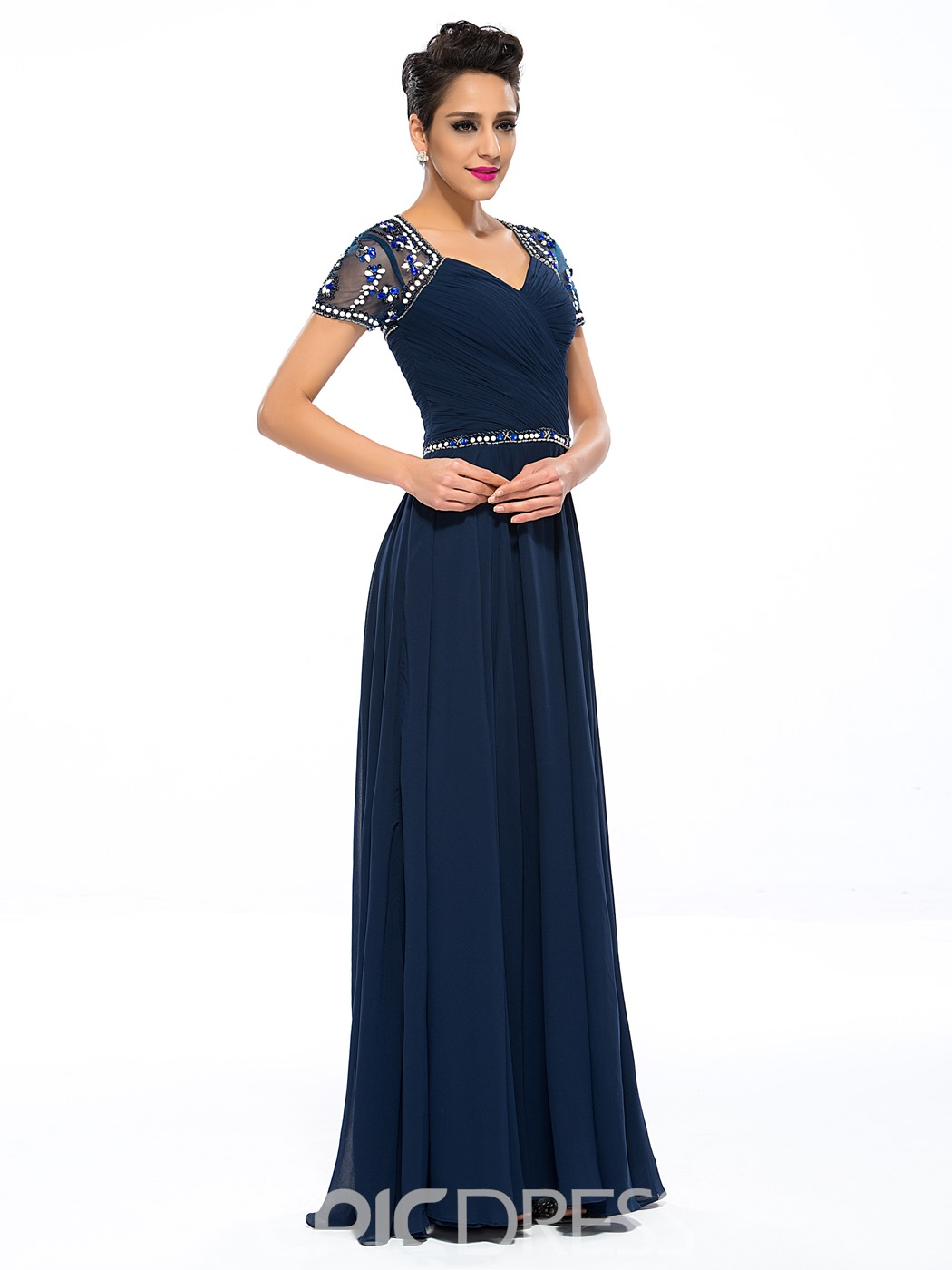 Ericdress A-Line Short Sleeves Beading Mother of the Bride Dress