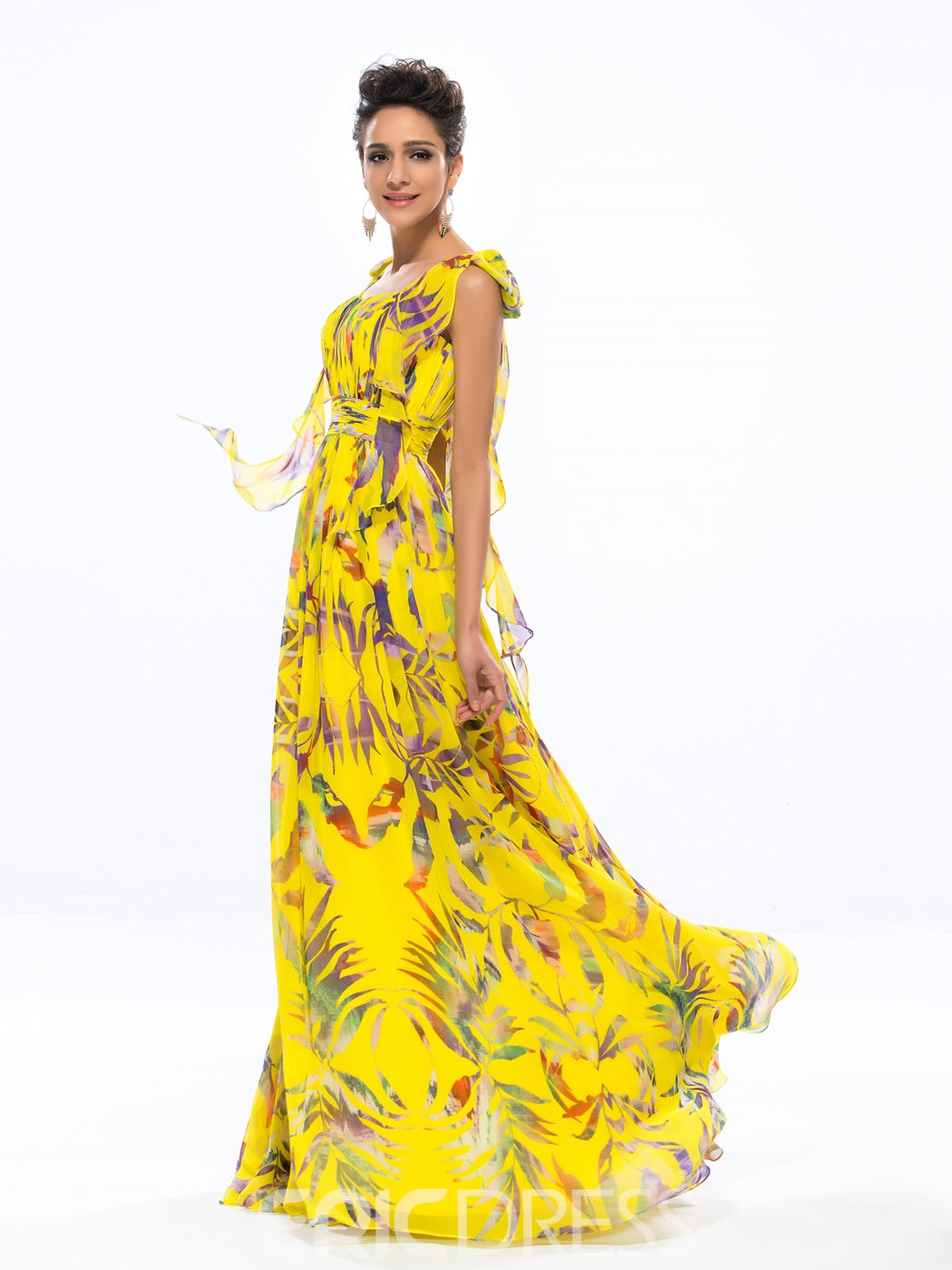 Ericdress A-line Scoop Floral Print Floor-length Long Evening Dress