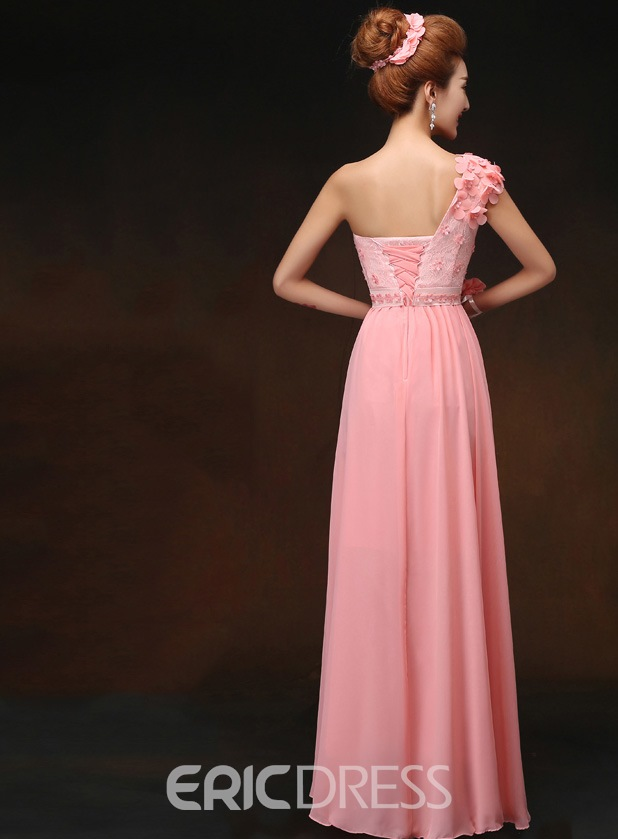 Classy One Shoulder Flowers Long Bridesmaid Dress