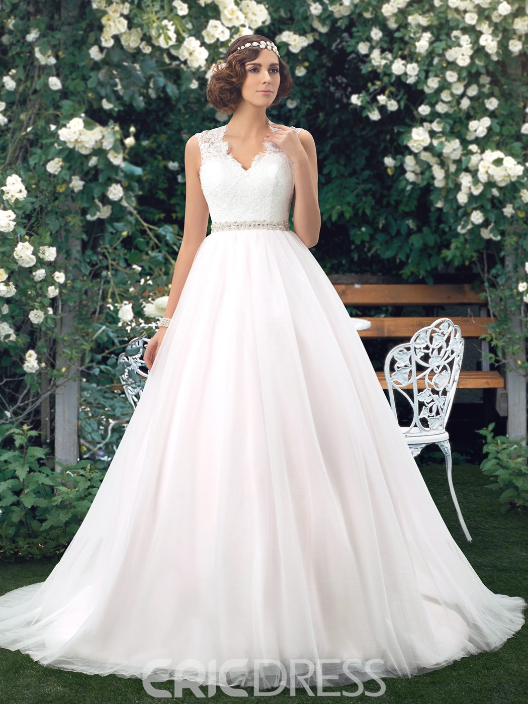 Charming A-line V-Neck Button Lace Wedding Dress