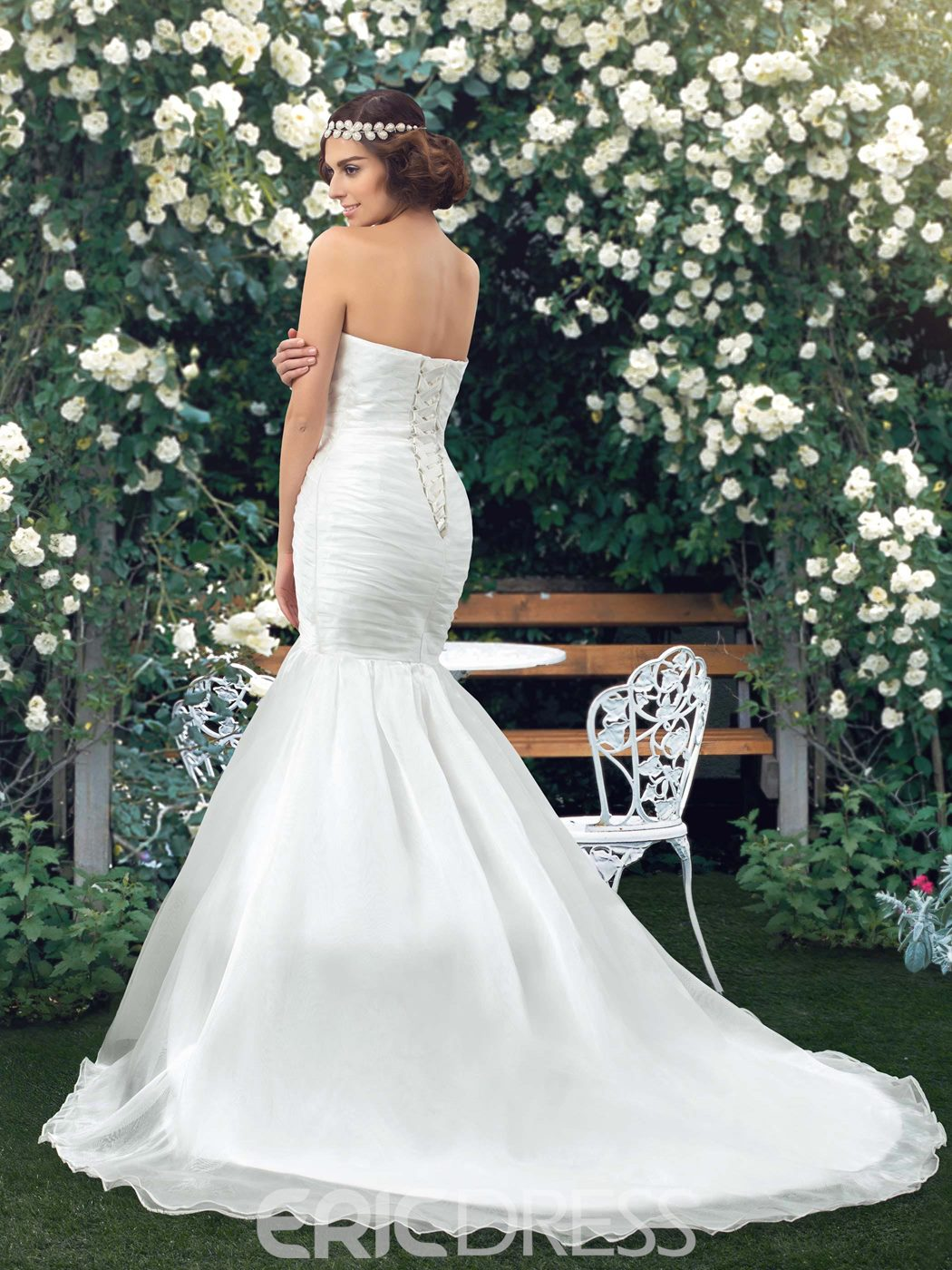 Classy Strapless Lace-Up Ruched Mermaid Wedding Dress