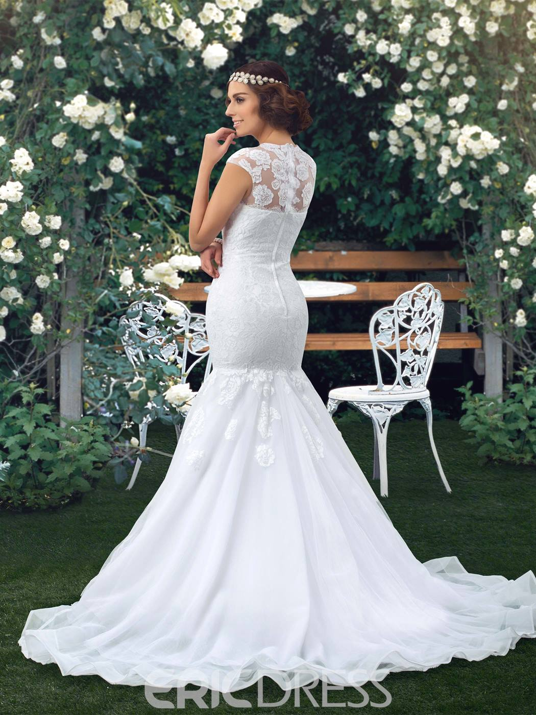 Ericdress Cap Sleeve Lace Mermaid Wedding Dress