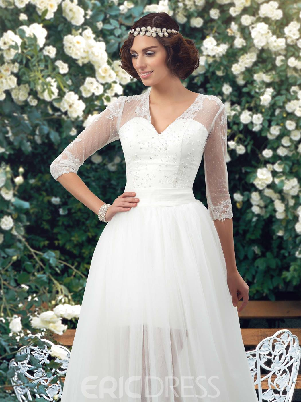 Classy A-Line V-Neck 3/4 Sleeves Beaded Wedding Dress