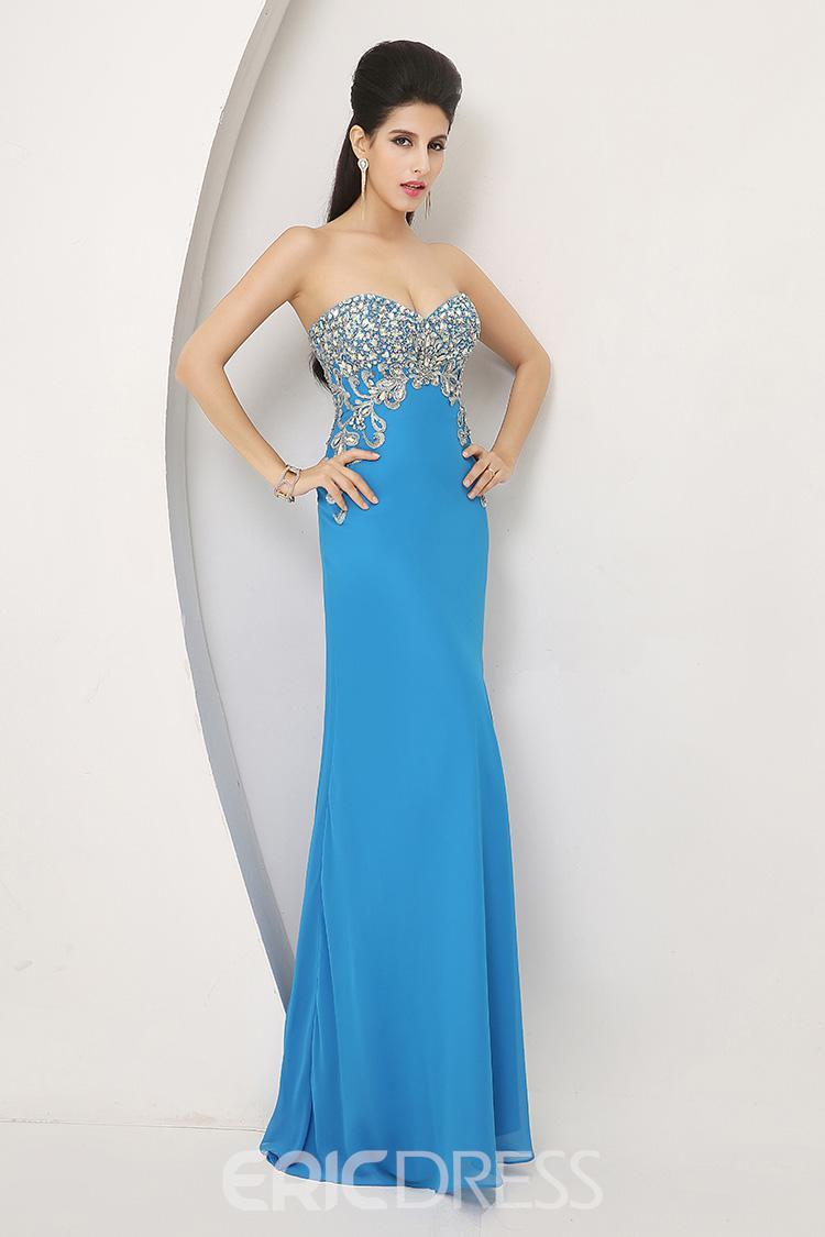 Glorious Sweetheart Column Long Chiffon Prom Dress