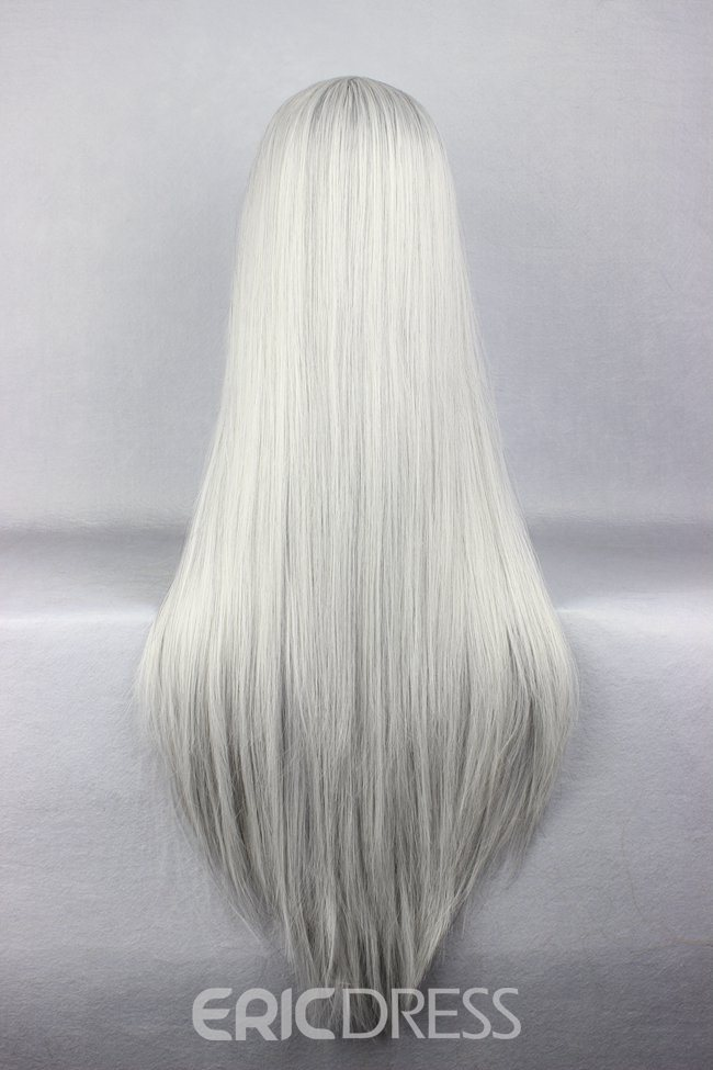 Ericdress Final Fantasy Series Sephiroth Hairstyle Long Straight Silver Cosplay Wig 30 Inches