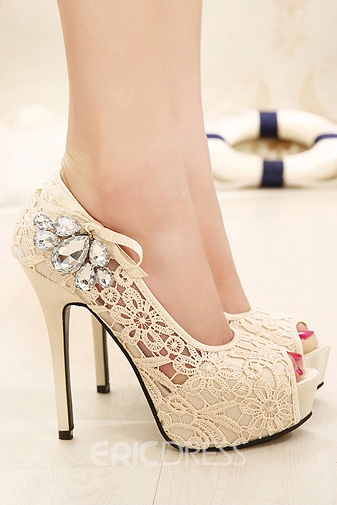 Sweet Rhinestone Decorated Hollow Platform Pumps