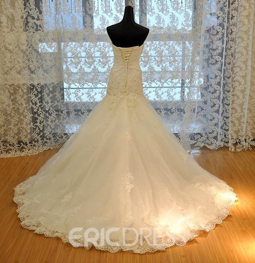 Ericdress Sweetheart Floral Appliques Mermaid Wedding Dress
