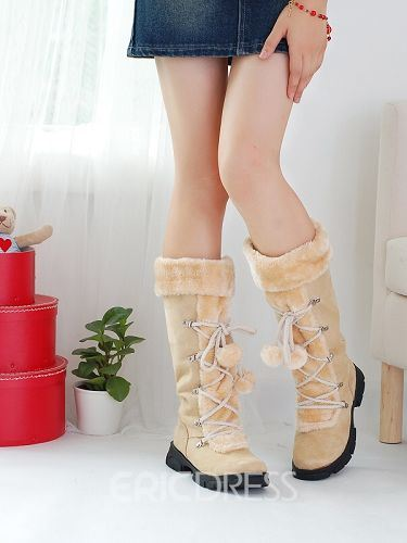 Preppy Design Suede Knee High Boots