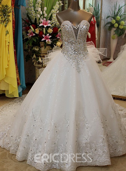 Rhinestone Cathedral Lace Wedding Dress