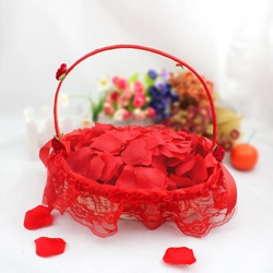 Bamboo Red Flower Basket With Lace Lining