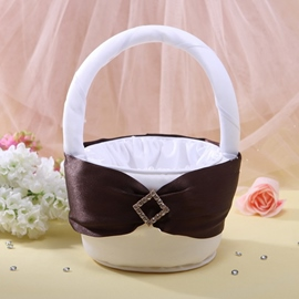 Flower Basket in Satin With Rhinestones Ribbon