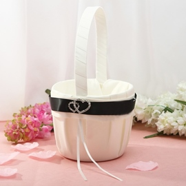 White Flower Basket With Rhinestones