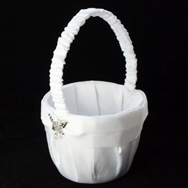 Flower girl baskets ivory flower girl basket ericdress flower basket in satin with butterfly rhinestones sash mightylinksfo