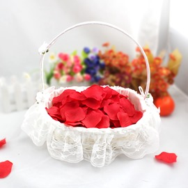 Bamboo Lace WhiteFlower Basket