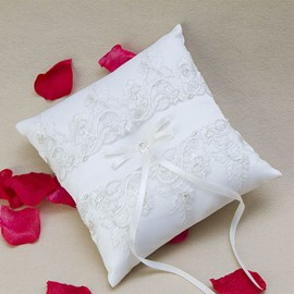 Classy Embroidery Net Bowknot Ring Pillow