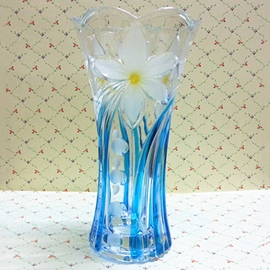 Nice Blue With Flower Glass Vases