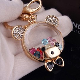 Color Crystal Bear Key Chain