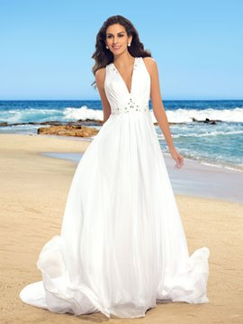 Robe de mariée simple v-cou perles mousseline de soie Beach