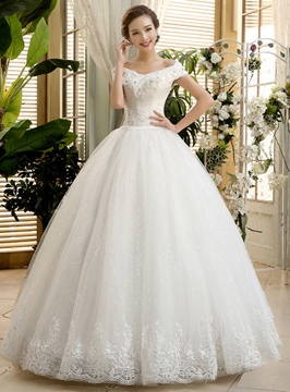 Classy Off the Shoulder Appliques Ball Gown Wedding Dress
