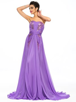 Charming A-Line Strapless Sequins Pleats Long Prom Dress