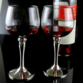 silver-plated Crystal Glass Toasting Flutes(Set of 2)