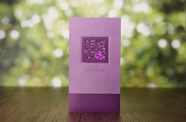 Purple Classic Wrap & Pocket Invitation Cards (20 Pieces One Set)
