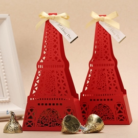 Beautiful Red Tower Type Paper Wedding Favor Boxes